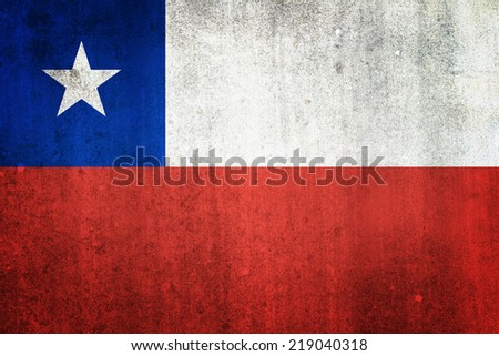 National flag of Chile. Grungy effect. - stock photo