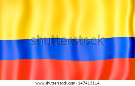 National flag of Colombia - stock photo