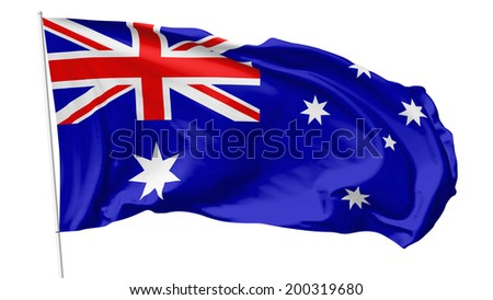 National flag of Commonwealth of Australia (Australia) on flagpole flying in the wind isolated on white, 3d illustration