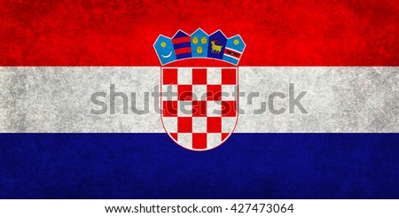 National flag of Croatia with a vintage textured treatment - stock photo