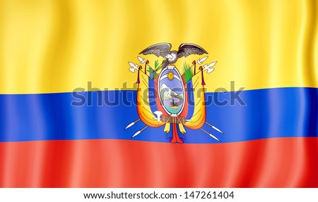 National flag of Ecuador - stock photo