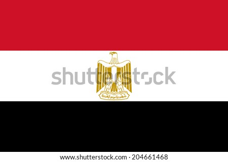 National flag of Egypt, Authentic version (scale and color) - stock photo