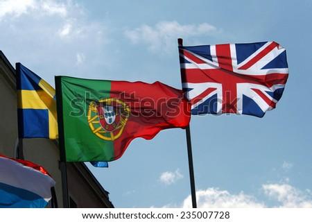 National flag of European countries - stock photo