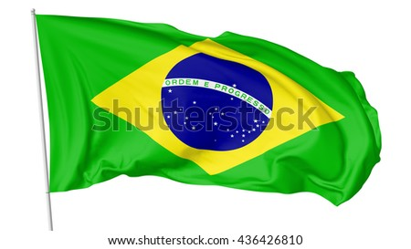 National flag of Federative Republic of Brazil on flagpole flying and waving in the wind isolated on white background, 3d illustration