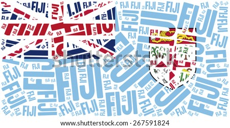 National flag of Fiji. Word cloud illustration. - stock photo