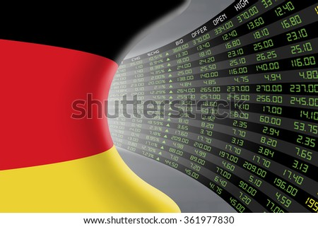 National flag of Germany with a large display of daily stock market price and quotations during economic booming period. The fate and mystery of German stock market, tunnel/corridor concept. - stock photo