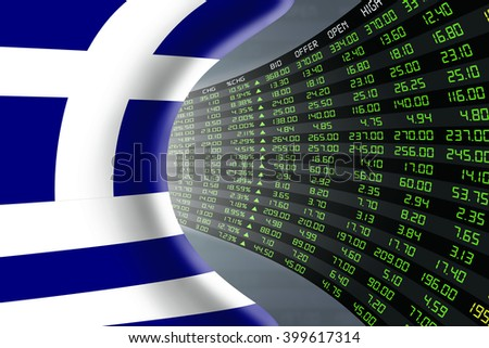 National flag of Greece with a large display of daily stock market price and quotations during economic booming period. The fate and mystery of Athens stock market, tunnel / corridor concept. - stock photo