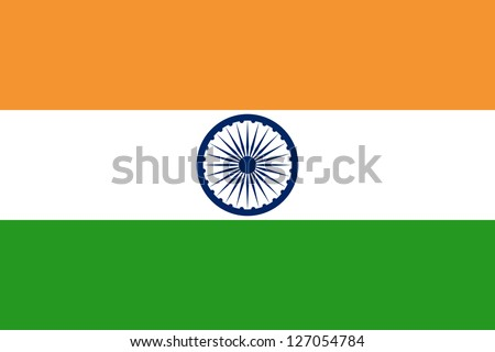 National flag of India. Design for size 900 x 600 mm. Proper ratio (2:3), size of Ashoka Chakra and colors. Adopted July 22, 1947. - stock photo
