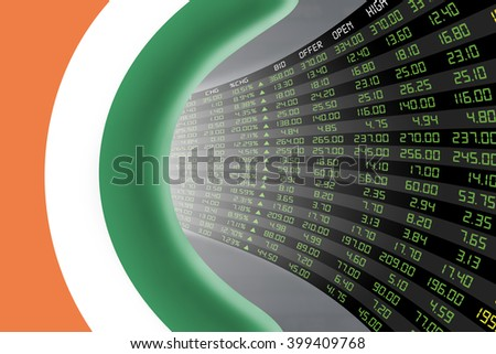 National flag of Ireland with a large display of daily stock market price and quotations during economic booming period. The fate and mystery of Dublin stock market, tunnel / corridor concept. - stock photo