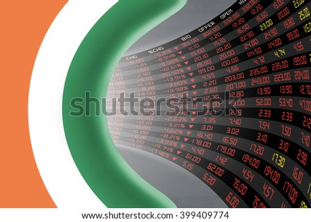 National flag of Ireland with a large display of daily stock market price and quotations during depressed economic period. The fate and mystery of Dublin stock market, tunnel / corridor concept. - stock photo