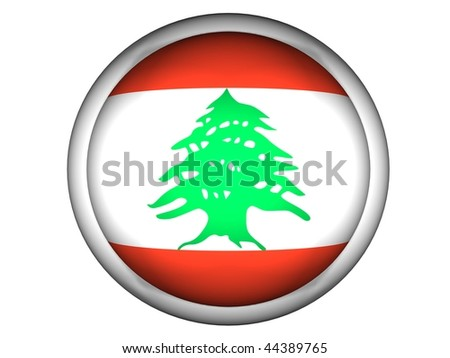 National Flag of Lebanon | Button Style |