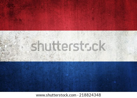 National flag of Netherlands. Grungy effect. - stock photo