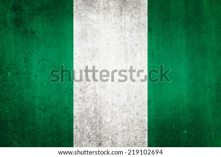 National flag of Nigeria. Grungy effect. - stock photo