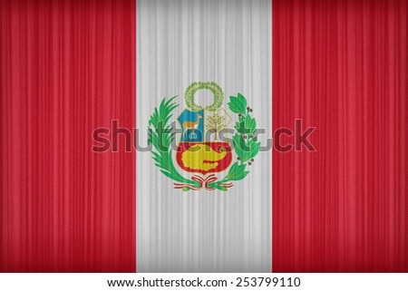 National flag of Peru flag pattern on the fabric curtain,vintage style - stock photo