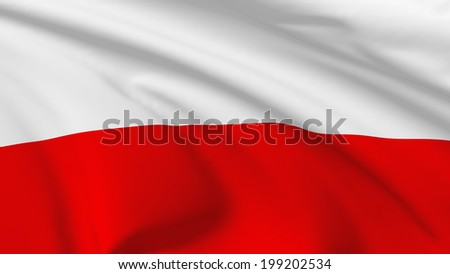 National flag of Republic of Poland flying in the wind, 3d illustration closeup view - stock photo