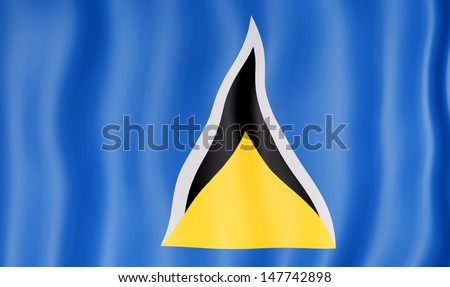 National flag of Saint Lucia - stock photo