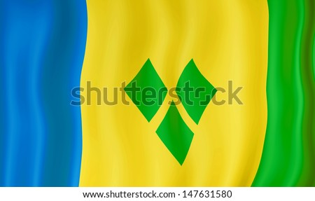National flag of Saint Vincent and the Grenadines - stock photo
