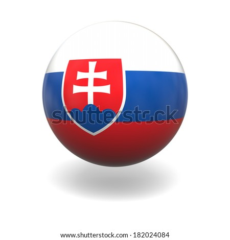 National flag of Slovakia on sphere isolated on white background