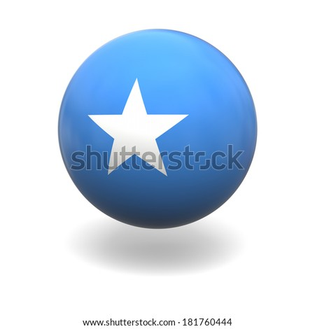 National flag of Somalia on sphere isolated on white background - stock photo