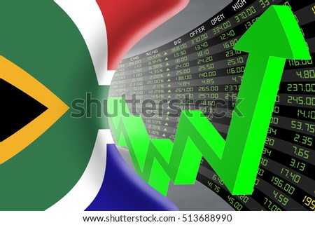 National flag of South Africa with a large display of daily stock market price and quotations during economic booming period. The fate and mystery of Cape Town market, tunnel concept. 3d illustration.