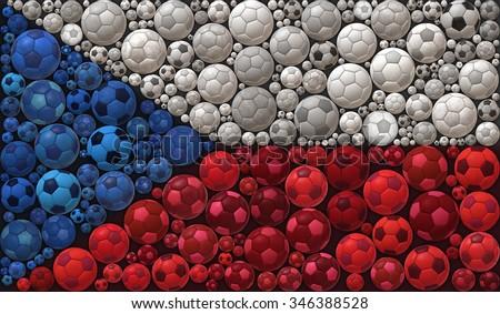 National Flag of  The Czech Republic Soccer Balls Mosaic Illustration Design Concept Sport Background - stock photo