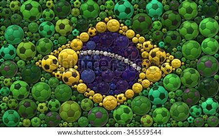 National Flag of the Federative Republic of Brazil Soccer Balls Mosaic Illustration Design Concept Sport Background - stock photo