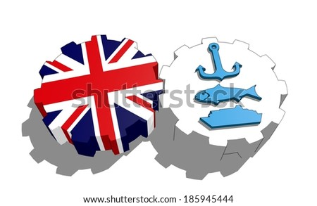national flag of the great britain and icons associated with sea industry on gears