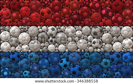 National Flag of the Kingdom of Netherlands Soccer Balls Mosaic Illustration Design Concept Sport Background - stock photo