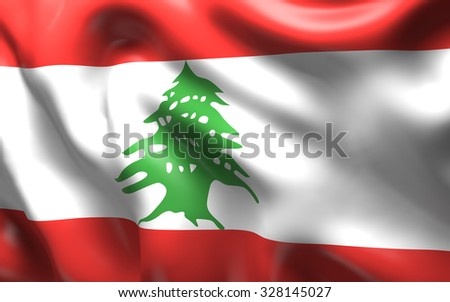 National Flag of the Lebanon waving in the wind