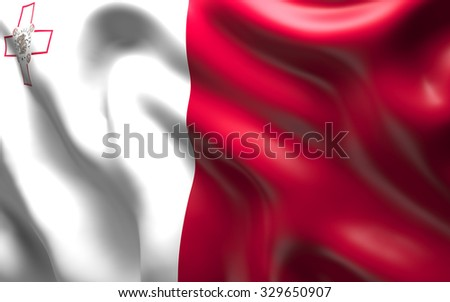 National Flag of the Malta waving in the wind