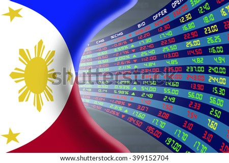 National flag of the Philippines with a large display of daily stock market price and quotations during normal economic period. The fate and mystery of Manila stock market, tunnel / corridor concept. - stock photo