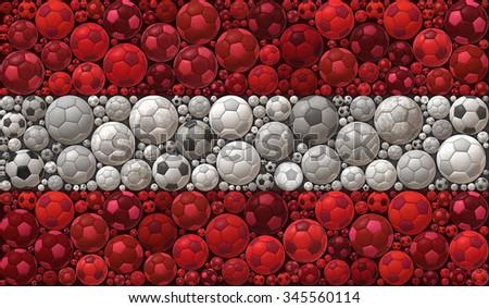 National Flag of the Republic of Austria Soccer Balls Mosaic Illustration Design Concept Sport Background - stock photo