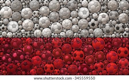 National Flag of the Republic of Poland Soccer Balls Mosaic Illustration Design Concept  Sport Background - stock photo