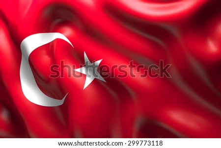 National Flag of the Turkey waving in the wind