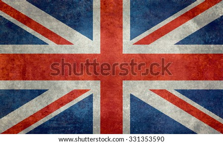 National flag of the United Kingdom, the Union Jack ensign 3:5 scale with a Vintage Retro texture treatment - stock photo