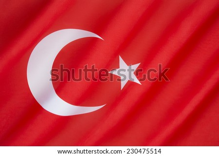 National flag of Turkey - The flag is often called Al bayrak (the red flag) and is referred to as Al sancak (the red banner) in the Turkish national anthem. The current flag dates from 1936. - stock photo