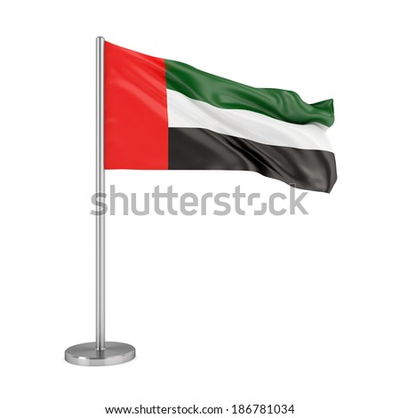 National flag of United Arab Emirates isolated on white background - stock photo