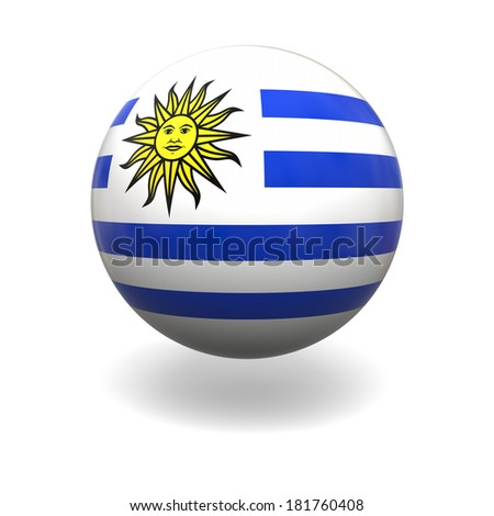 National flag of Uruguay on sphere isolated on white background