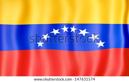 National flag of Venezuela - stock photo