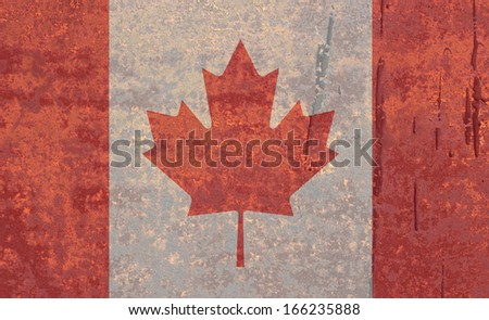 National flag on rusty background: Canada - stock photo