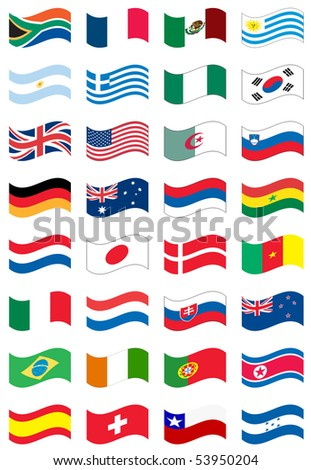 National flag set in white background
