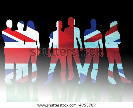 national flag united kingdom of people silhouettes