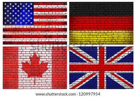 National flags brick wall background (different countries of the world  -  set of four)