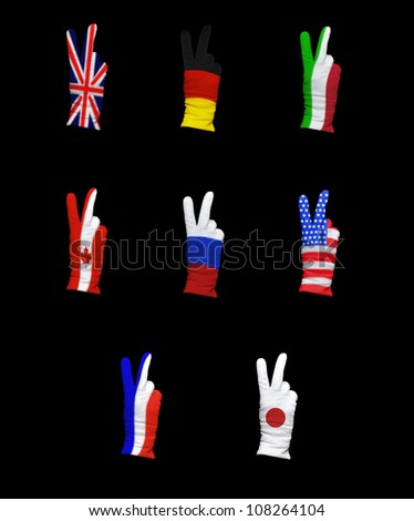 National flags of G8 members on a black background