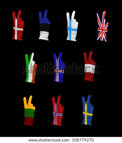 National flags of Northern Europe countries on a black background
