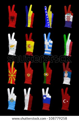 National flags of Southern Europe countries on a black background