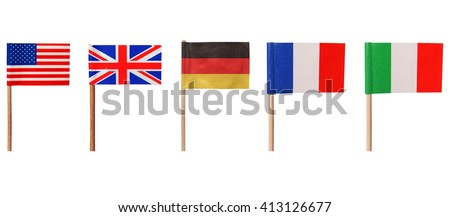 National flags of USA UK Germany France Italy isolated over white