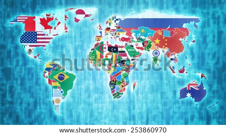 national flags on blue digital world map with actual national borders - stock photo