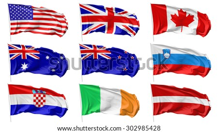 National flags on flagpole flying in the wind isolated on white set, 3d illustration - stock photo