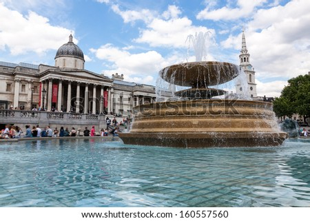 National Gallery and Trafalgar Square in London, UK - stock photo